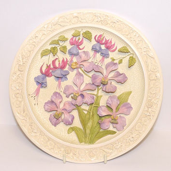 Wall Plaque or Plate, Countryside in relief, Orchid, Watersmeet Studios, by Ken Norris, Handmade and painted