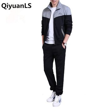 QiyuanLS Men's Sportwear Suit Sweatshirt Sporting Casual Suit Fitness Jacket Clothing For Young Fashion 2 Pieces Man Sets Suits