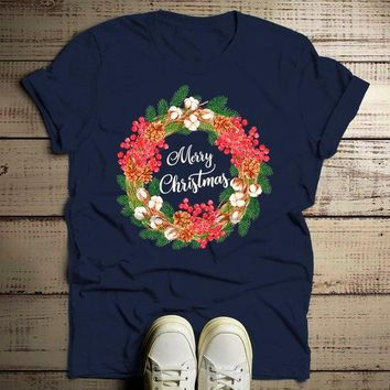 Men's Christmas Shirt Christmas Outfit Christmas Wreath Beautiful Christmas T Shirts Flowers