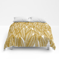 Golden Yellow Leaves Comforters by Sandra Arduini