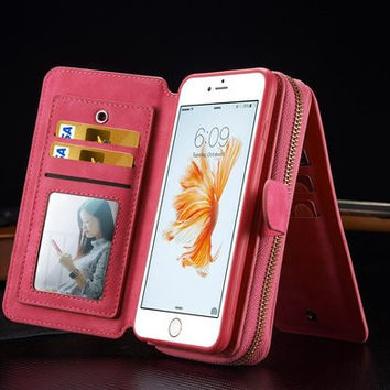 Zipper Wallet PU Leather Cosmetic Mirror Case For iPhone