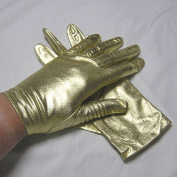 1980s Vintage Sears Gold Lame Gloves in Original Unsealed Package, Size 7, Wrist Length, Great Costume Gloves for Halloween, Plays, Dress Up