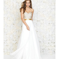 Ivory Strapless Chiffon Gown With Gold Beaded Sweetheart Bodice