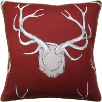 Red - Antlers Pillow