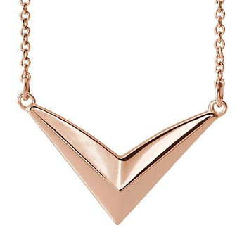 14k White, Yellow or Rose Gold V Shaped Bar Necklace, 16-18 Inch