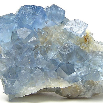 Aqua Blue Fluorite Crystals with Quartz Mineral Specimen mined in New Mexico Heavenly Transparent Crystals