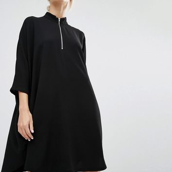 Monki | Monki High Neck Zip Dress Dress at ASOS
