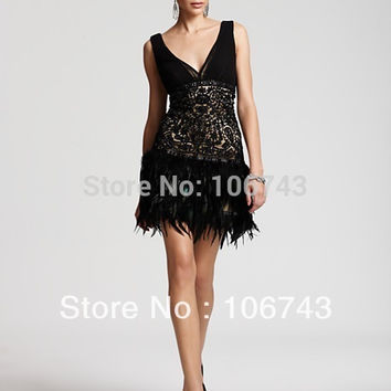 free shipping dress with fringes 2016 new low back short lace NEW SUE WONG BEADED LACE AND FEATHER 1920'S STYLE COCKTAIL DRESS