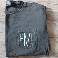Comfort Colors Long Sleeve Monogram Shirt w/ Pocket/Personalized Shirt/Embroidered Shirt/Initials/Long Sleeve