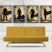Batman Video Game Characters Minimalist Poster Set \ Deathstroke, Black Mask, Joker, Harley Quinn
