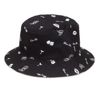 HUF - REVERSIBLE KISS BLOW ROLL BUCKET // BLACK / WHITE