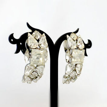 Big Rhinestone Earrings, Huge Clip On Earrings, Marie Ferra Earrings, Showgirl Earrings, Big Clip On Earrings, Statement Earrings