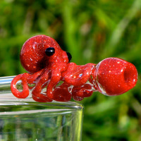 Octopus Glass Straw, Red Brick color