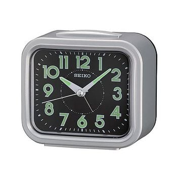 Seiko Bell Alarm Bedside Clock - Quiet Sweep Second Hand - Silver-Tone Metallic