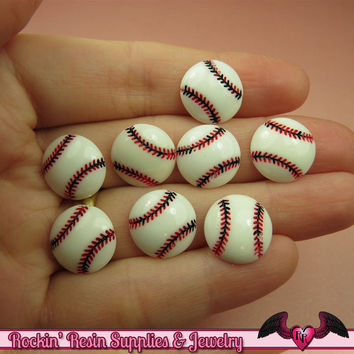 8 pcs BASEBALL Sports Resin Flatback Decoden Kawaii Cabochons 14mm