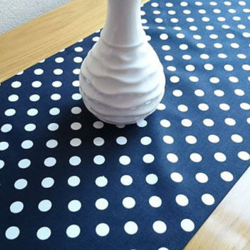 NEW!! Black Large Polka-Dot Table Runner, Modern Table Runner, Classic Table Cover, Duck Tablecloth, Cotton Table Runner