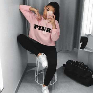 2017 Fashion PINK Printing Hoodies Sweatshirts Jumper Crop Top Coat Crew Neck Women Clothing Loose Short