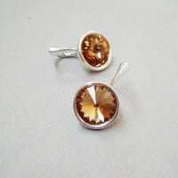 Sterling silver Swarovski crystal rhinestone round rivoli Topaz brown amber colour dangle leverback earrings