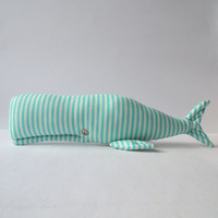 Whale toy, Stuffed Whale, Plush animal, cute toy. Child friendly. Turquoise/mint  cloth. Nice gift  for baby shower, nursery toy and decor