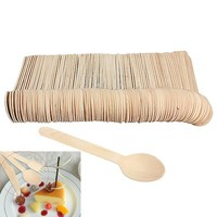 100Pcs/lot Mini Wooden Spoon Ice Cream Spoons Wedding Parties Banquets Disposable Wooden Crafting Cultery Utensils