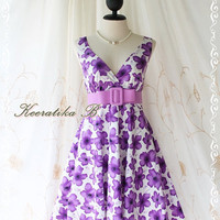 Miss Floral - Beautiful Floral Dress Purple Floral Print Vintage Style Party Wedding Bridesmaid Country Dress XS-M