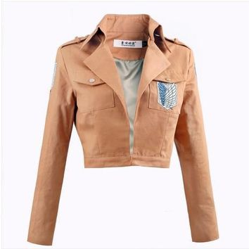 Cool Attack on Titan Good quality  Jacket Brown anime cosplay Tops for Girl anastasia costum Costume fantasia adulto women jacket AT_90_11