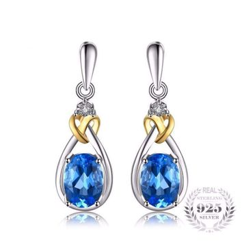 Love Heart Knot Natural Blue Topaz Earrings 925 Sterling Silver