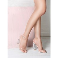 Anastasia Nude Suede Transparent Black Barely There Heels : Simmi Shoes