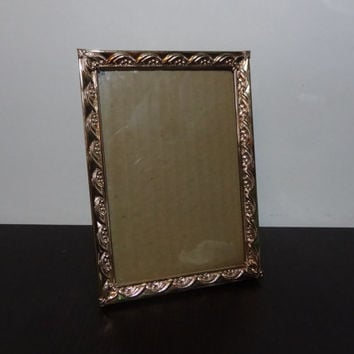 Vintage 5 x 7 Gold Tone Picture Frame with a Scalloped Floral Banner Design - Art Deco/Hollywood Regency