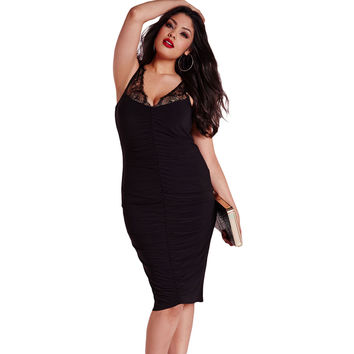 Black Slinky Lace Plus Size Dress LAVELIQ
