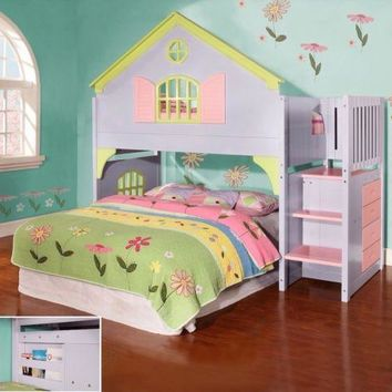 Girls Twin Doll House Loft Bed with Stairs, Drawers & Magazine Rack!