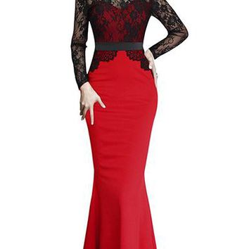 Women's Long Sleeve Maxi Dress - Lace Bodice Overlay