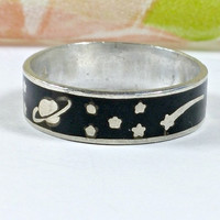Vintage Stars Moon Sun Planet Black Enamel Taxco Mexico 925 Sterling Silver Band Ring Fun Fashion Ring Size 6