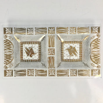 Vintage Gold Glass Divided Tray Mid Century Modern MCM Decorative Tray Pegasus Flying Horse Serving Tray Snack Tray Keys Catchall Dish