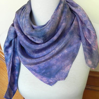 Large Square Silk Scarf Hand Dyed Shades of Blue, Periwinkle and Pink, 35 square inches, Ready to Ship