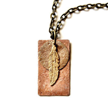 Boho Jewelry Feather Necklace, Nature Jewelry, Mixed Metal Layered Pendant Statement Necklace, Textured Hammered Antique Copper Raw Brass