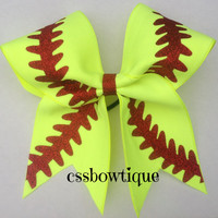 Neon Yellow Softball Bow With Red Glitter Laces