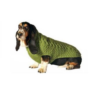 Chilly Dog Green Cable Knit Wool Dog Sweater