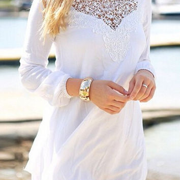 White Long Sleeve Round Collar Dress