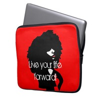 Natural afro chick illustration laptop computer sleeve