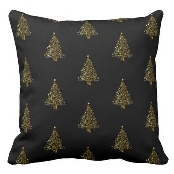 Merry Christmas Tree Pattern Black Gold Elegant Throw Pillow