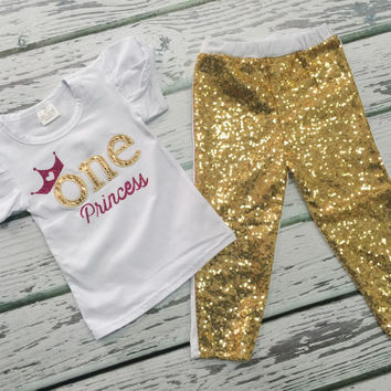Baby Girls Pink Gold 1st Birthday Outfit, Birthday Wear, Baby Girl Clothing, Princess Applique', Gold Sequin Legging, Princess Birthday