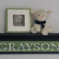"Baby Nursery Decor Personalized Green 30"" Navy Shelf with Custom Name - You Are The Hero Of Your Own Story - Kids Room Wall Sign / Shelves"