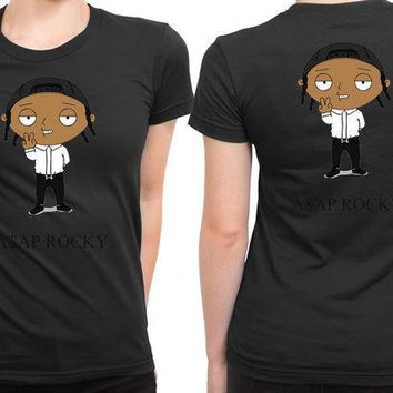 ICIKG72 Asap Rocky In Funny Cartoon 2 Sided Womens T Shirt