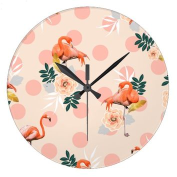 Flamingo Jazz Large Clock