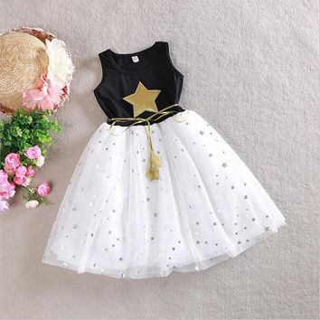 Girls Dress 2016 Summer  2-12T Sequin Dresses For Girl Kids Clothes Cotton Children's Clothing Christmas dress Party Costume