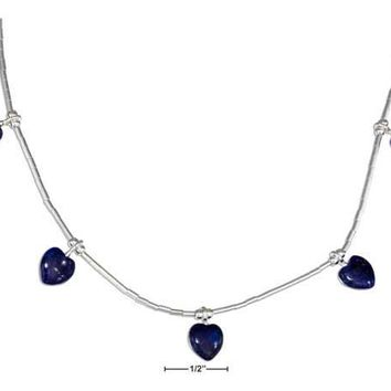 """Sterling Silver 16"""" Liquid Silver And Beaded Lapis Hearts Necklace"""