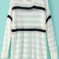 White Striped Cutout Long Sleeve Knit Sweater