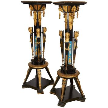 Highly Important Pair of Neo Grec Ormolu and Porcelain Mounted Ebony Torchieres