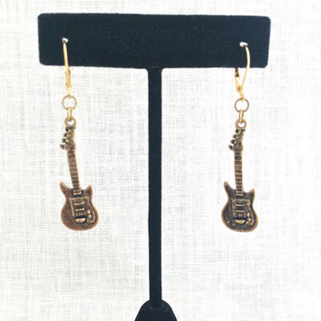 Guitar Earring, Electric Guitar Jewelry, Music Lover Gifts, Country Music Instrument Jewelry, Gold Leverback, Heavy Metal, Teen Gift, 615